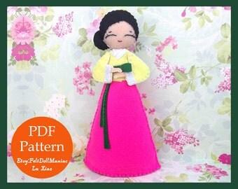 Korean Hanbok Doll. Felt Doll. PDF Pattern. PDF Tutorial.