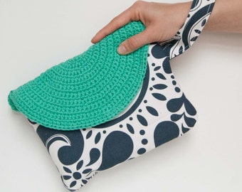 Crasty Flap/ Alfa/ Handbag in cotton fabric, style Art Nouveau and crochet flap