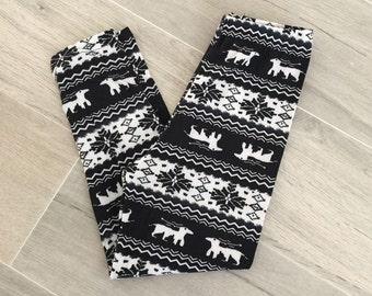 Kids/Girls Christmas White/Black Reindeer Leggings
