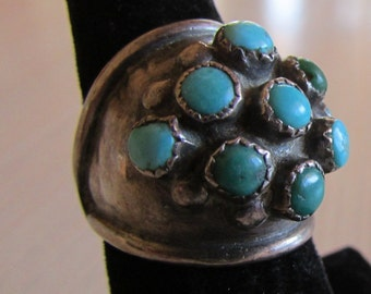 Sterling Silver Domed Ring with Nine Turquoise Stones Size 7 1/4