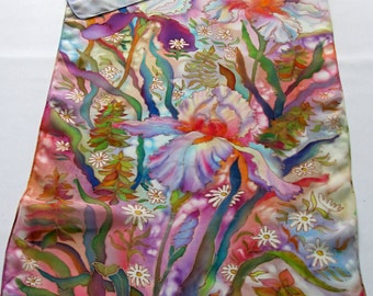 Scarf iris and foxglove. Natural motiv silk scarf. Hand painted silk scarf. Gift women.