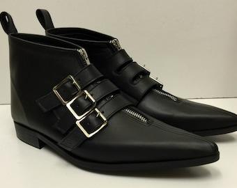 3 Buckle Winklepicker Boots in Black Leather