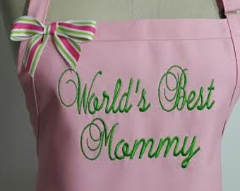 World Best Mommy Apron - Pink apron with Lime green embroidery thread - Mothers day Gift Apron -Elegant Apron .