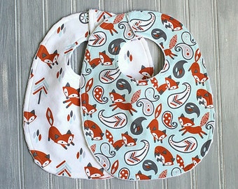 Fox Bib Set - Set of 2 Minky Bibs - Baby Boy Blue and White Fox Bibs, Fox, Trees and Paisley Boy Bib Set