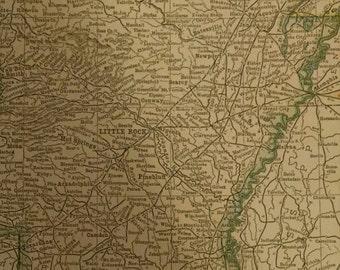 Arkansas Map 1935 Vintage antique