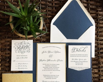 Navy Pocket Invitation, Navy and Gold Glitter Invitation