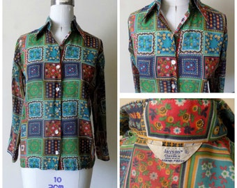 60s Sheer Blouse, Jaysons Classics, Handkerchief, Patchwork, Boho, Hippie, Button Down, Brushed Cotton, Size 11/12, Womens Vintage Clothing