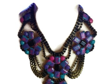 PICASSO painted rhinestone necklace