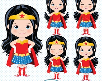 Wonder Woman clipart, Superhero girls clipart, Girl power clipart, Supergirls, Cute superhero clipart, Super hero girls clipart