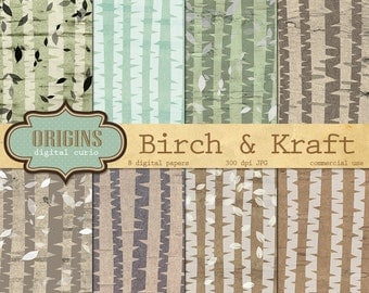 Birch Kraft Digital Paper, Birch Bark Textures, Kraft Scrapbooking Paper Pack, Birch forest, wood digital paper commercial use