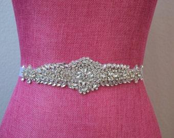 Crystal Rhinestone Bridal Belt on Satin Sash - Bridal Sash - Rhinestone Belt - Wedding Accessories -  EYM B047