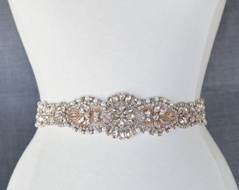 Rose Gold Crystal Rhinestone Bridal Belt on Satin Sash - Bridal Sash - Rosegold Rhinestone Belt - Rose gold Wedding Accessories b098