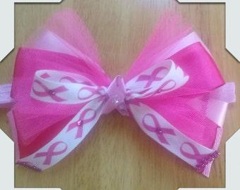 Pink Breast Cancer Awareness Hair Bow Headband