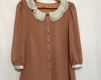 Old Rose Colour Blouse Ivory  Collar and Cuffs Elegant Chiffon Top Unlined Bangle Length Sleeves Size Large Chest 40