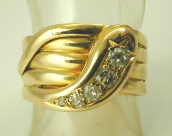 Antique Victorian Snake ring diamond 18ct gold 1880s size U 11.4 grams 0.40cts