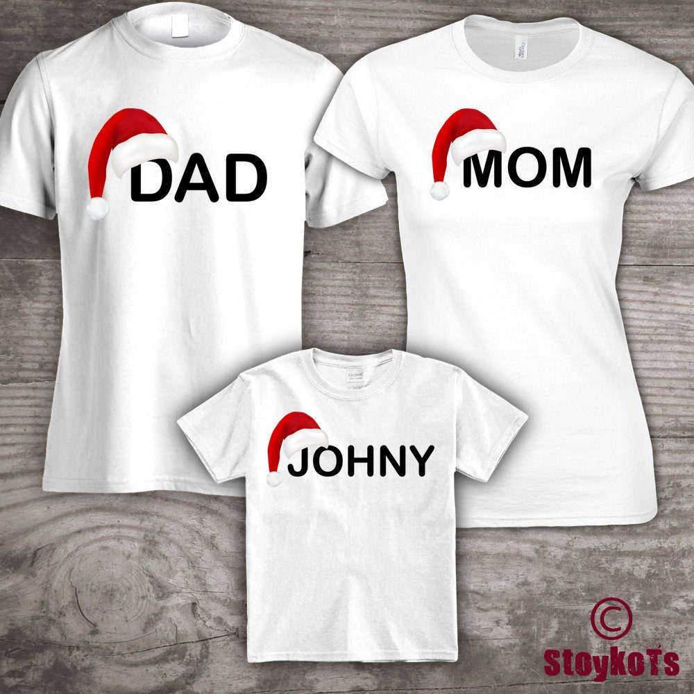 personalized christmas family t shirts mom dad little one