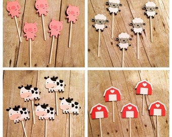 Farm Animal Cupcake Toppers, set of 12 or 24