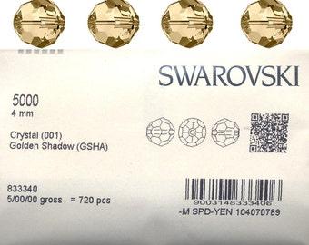 Swarovski 5000 round bead.  4mm Golden shadow .  Price is for 20 beads