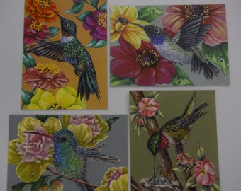 ACEO set of 4 Hummingbird bird Wildlife Flower prints