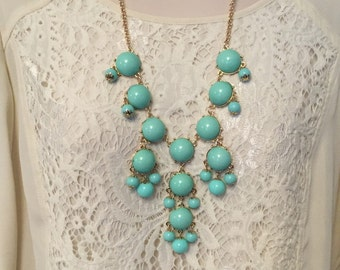 Mint AquaTurquoise Aqua Blue Bubble Bib Beaded Chandelier Statement Necklace