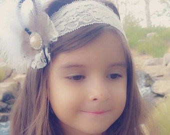 Feather Headband/Lace Headband/Child Headband