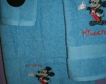 Mickey Mouse Conductor 3 piece Personalized Towel Set Bathtowel, Handtowel, & Washcloth