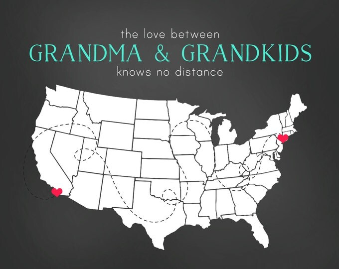 Personalized Gifts - Oma Opa Nana Grandparents, Grandmother Gift for Mother's Day, Mothers Day, 8x10 Personalized Maps Grandkids Unique Wall
