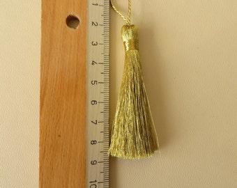 Gold metallic yarn Tassel, 7-7.5cm length, 10 pieces