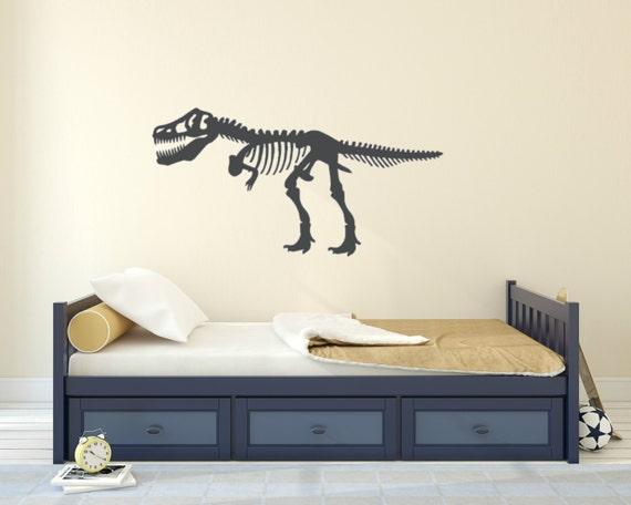Dinosaur Skeleton Vinyl Wall Decal Add A Custom Name For No - Custom vinyl wall decals dinosaur