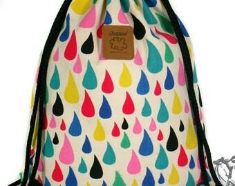 10% OFF [Origi 14.99] Droplet Rainbows Backpack Canvas drawstring bag Cotton Backpack Laptop bag Hip bag Handmade bag
