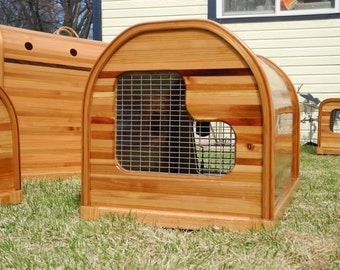 Medium cedar strip dog crate, on sale