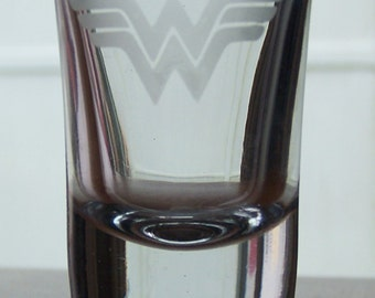 Wonder Woman Etched Shot Glass
