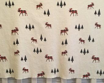 buffalo plaid moose baby blanket//buffalo plaid moose and triangle trees blanket//baby blanket//organic cotton blanket