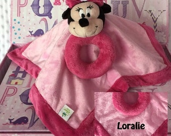 Minnie Mouse inspired Snuggle Blankey Security Baby Blanket lovey - Monogrammed