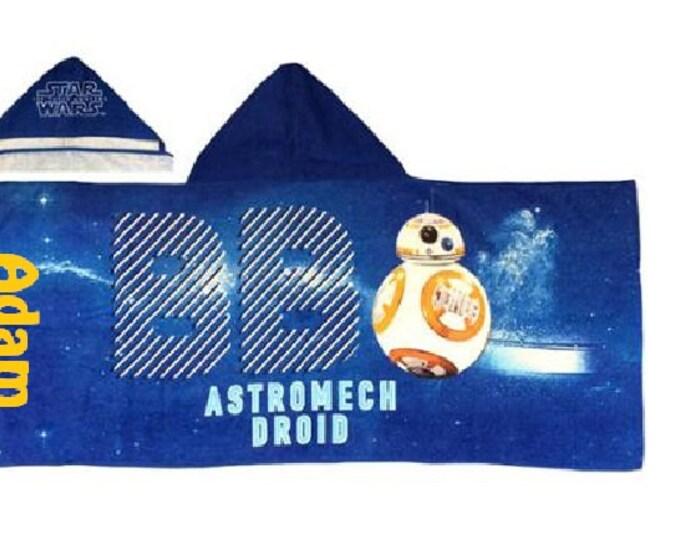 Star Wars Hooded Beach Bath Towel Wrap BB8 Astromech Droid - Personalized