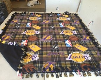 Double sided, hand tied fleece Los Angeles Lakers blanket