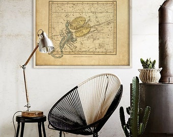 """Libra sign print 1822, Vintage Libra constellation zodiac star map, 4 sizes up to 36x30"""" (90x75cm) Astrological - Limited Edition of 100"""