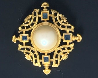 Vintage Monet  Pearl and Blue stones Brooch