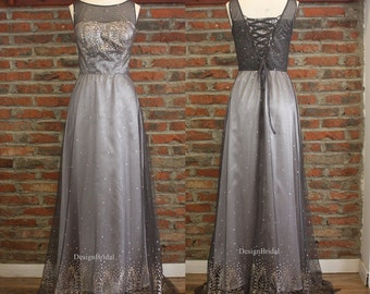 2016 Long Evening Dress,Grey Dresses,Bronzing Mesh Dress,Grey Satin Long Prom Gown,Formal Gowns for Women Elegant Dresses
