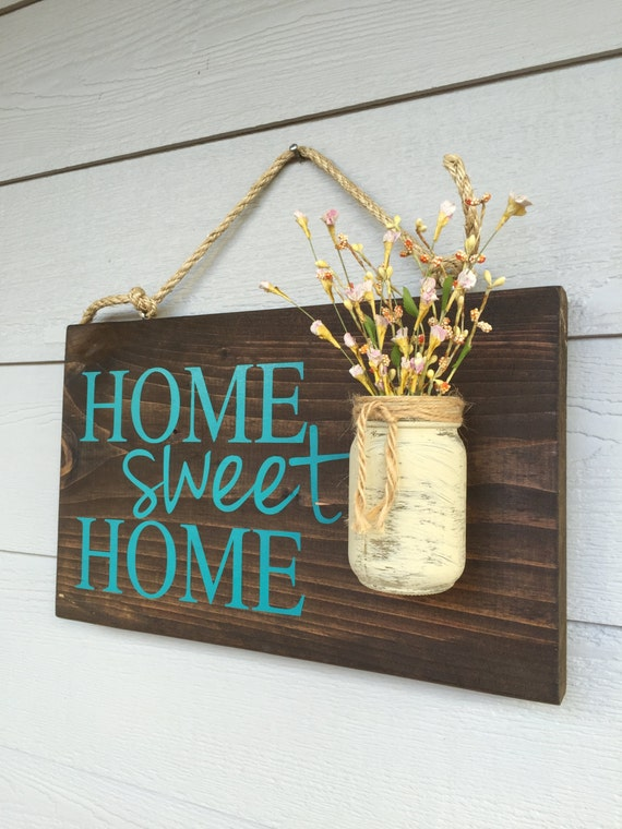 Rustic outdoor teal home sweet home wood signs front door - Wooden door signs for home ...