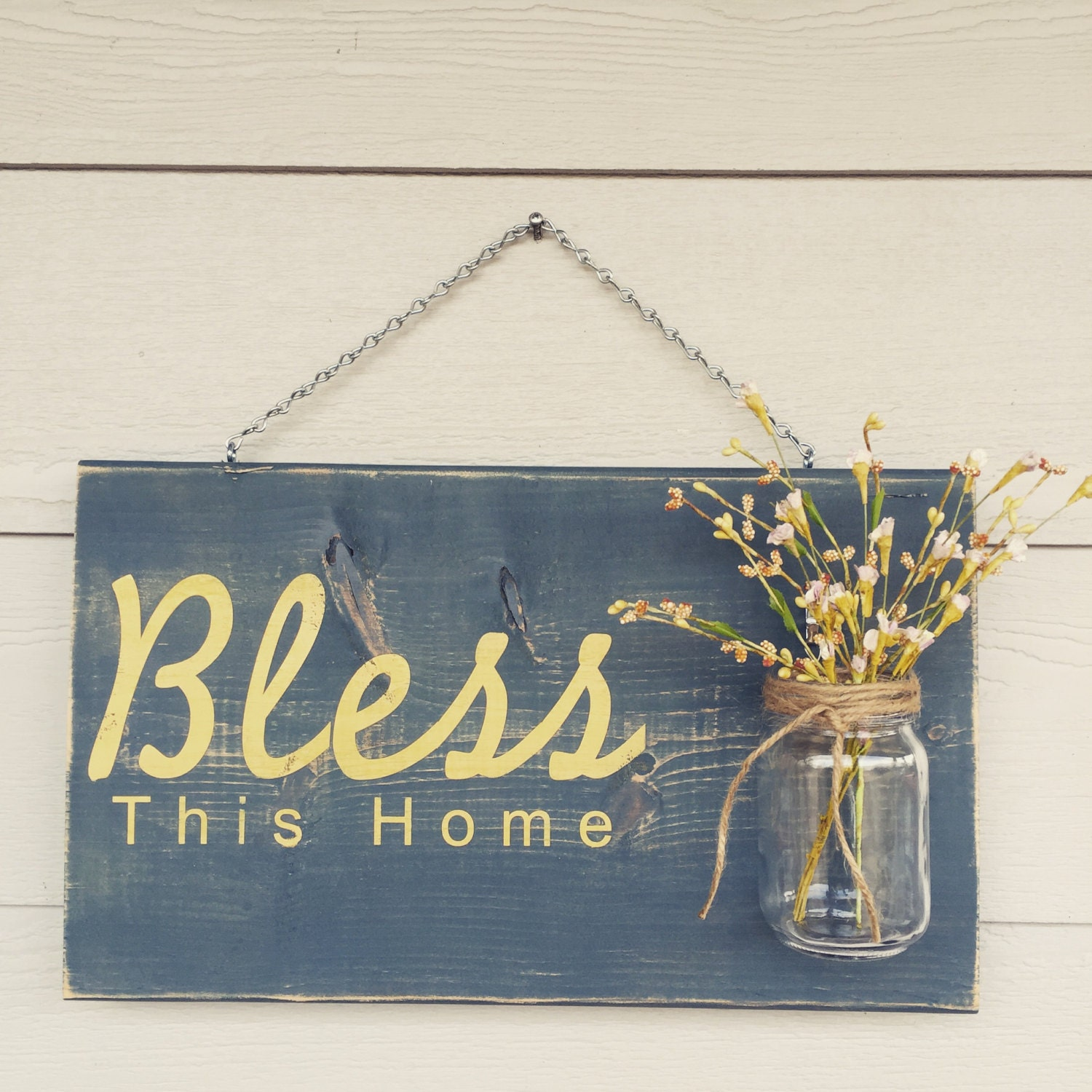 rustic outdoor bless sign in blueyellow wood signs front door sign rustic home decor wedding gift home decor custom sign
