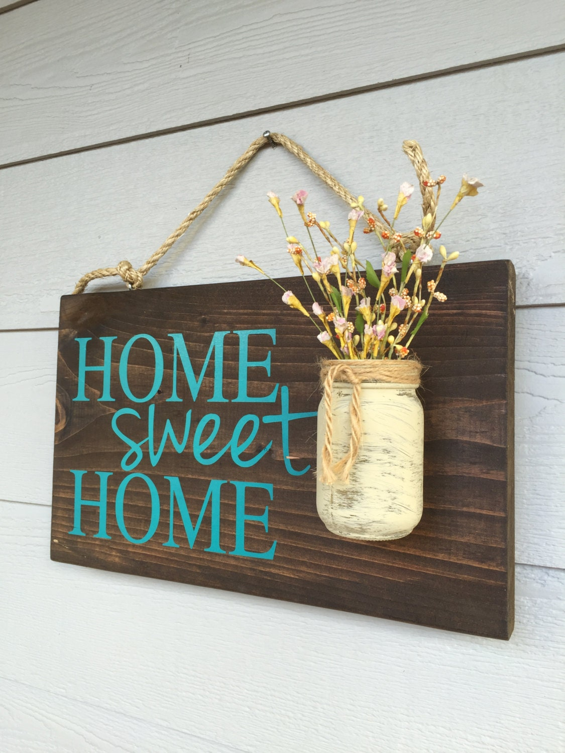 Rustic outdoor teal home sweet wood signs front door