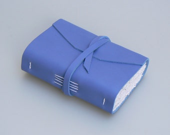 Handmade Leather Book / Pocketbook (small size) - Cornflower Blue