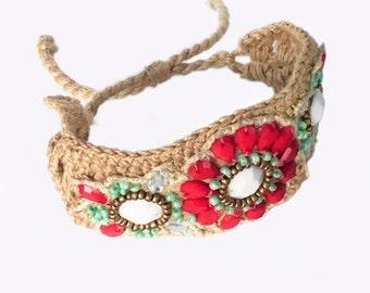 Adjustable cord bracelet crochet woven cuff bracelet jeweled flowers boho bracelet bohemian jewelry flower bracelet