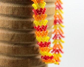 Orange Yellow and Red Beaded Bracelet