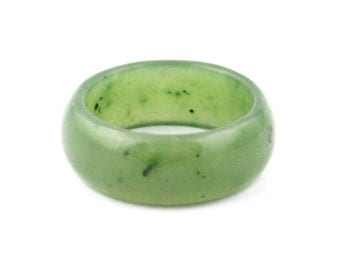 Canadian Nephrite Jade Wide Band Ring, 10mm