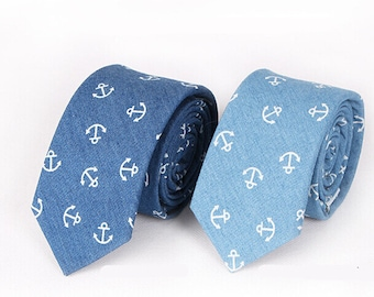 Anchor Necktie.Blue Denim Ties.Mens Ties.Skinny Ties with Anchor Patterns.Nautical Themed Wedding