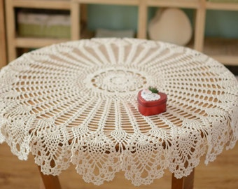 Hand Crochet Pattern Table Cover Handmade Coffee Table Cover Night Stand Cover Refrigerator