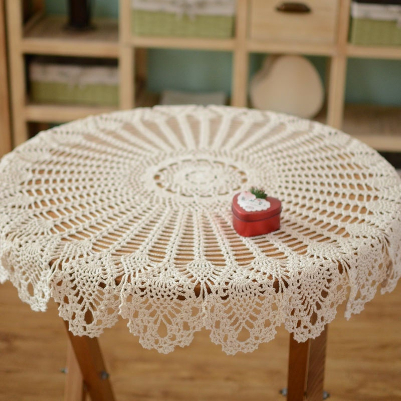hand crochet pattern table cover handmade coffee table cover. Black Bedroom Furniture Sets. Home Design Ideas