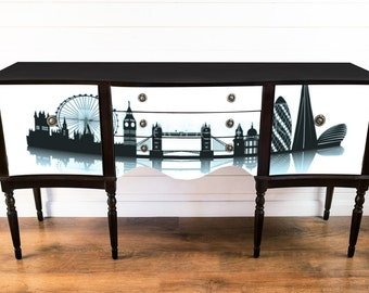Black sideboard  with London scene
